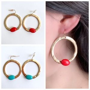 Good Ring Earring with Faux Turquoise Stone